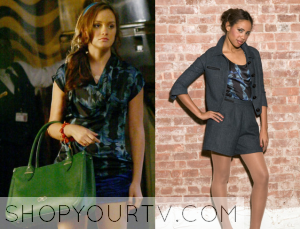 Gossip Girl: Season 2 Episode 1 Blair's Black & Blue Printed Top