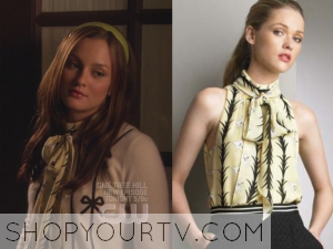 Gossip Girl: Season 2 Episode 5 Blair's Yellow Neck Tie Blouse