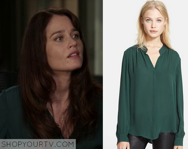 green silk blouse