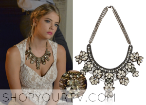 Pretty Little Liars: Season 5 Episode 13 Hanna's Crystal Floral Beaded Statement Necklace