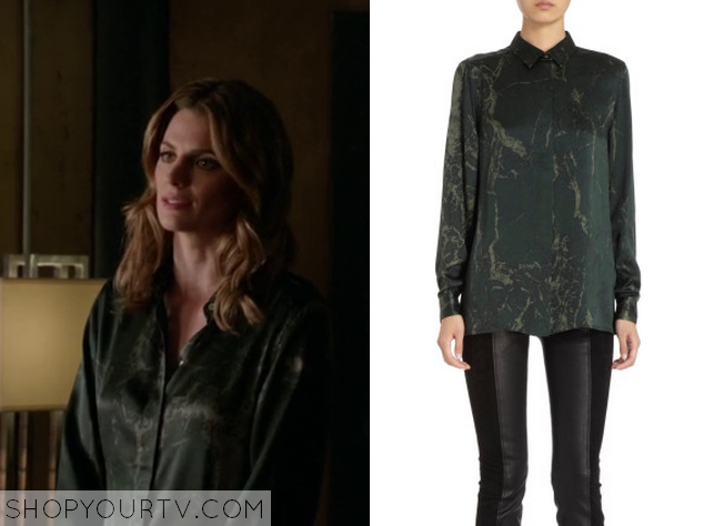 kate beckett green marble blouse