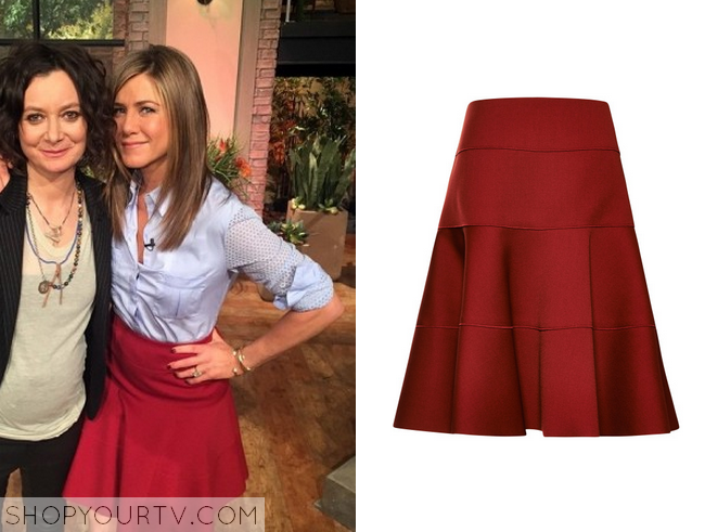 The Talk: Jennifer Aniston's Red Flare Skirt |