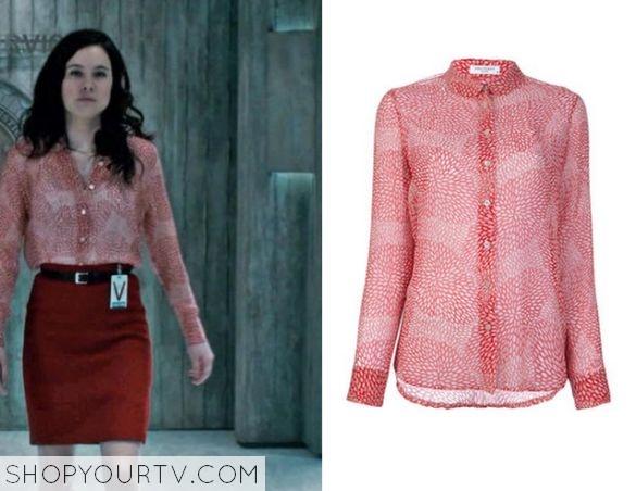 alana orange print blouse
