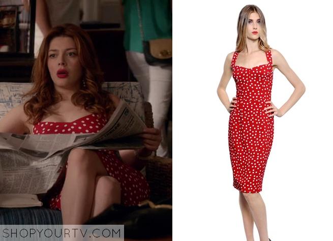 louise red dot dress