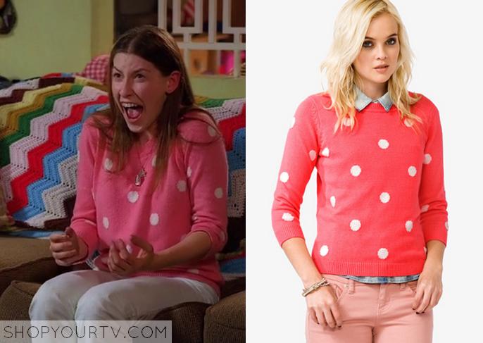 sue pink sweater
