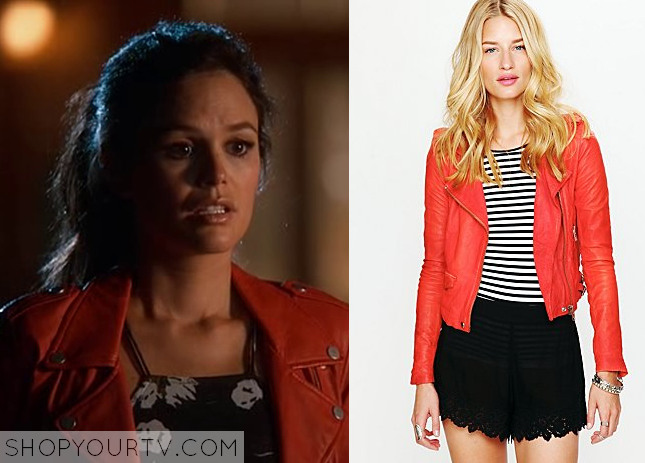 zoe red leather jacket