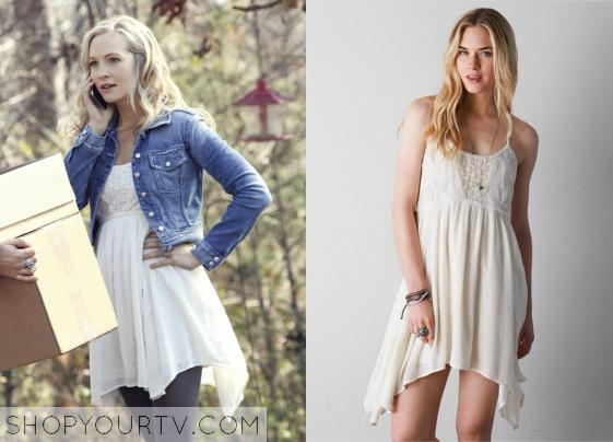 The Vampire Diaries Season 6 Episode 14 Caroline S Crocheted Babydoll Dress Shop Your Tv