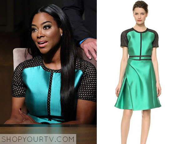 metallic green and mesh dress