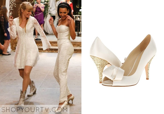8130dcb51d5 Glee  Season 6 Episode 8 Santana s Wedding White Glitter Heel Pumps ...