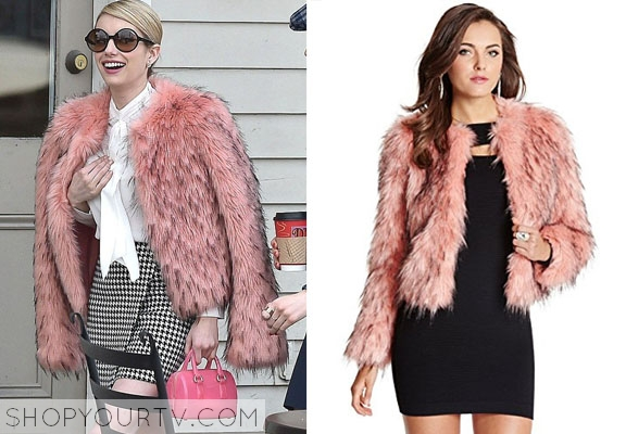 Scream Queens: Season 1 Episode 1 Chanel's Pink Faux Fur Coat |