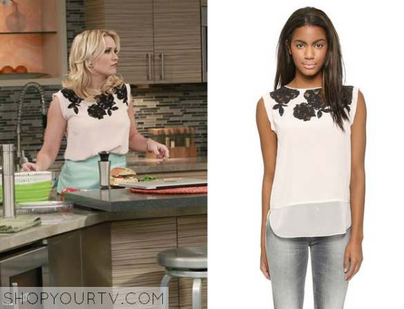 Young & hungry: season 2 episode 5 gabis white lace inset top