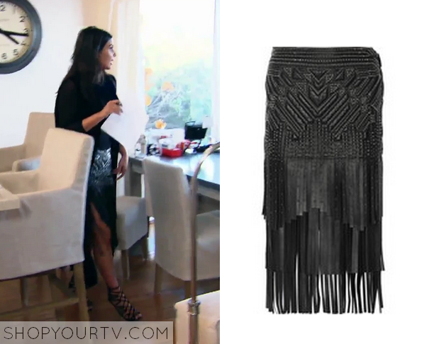 KUWTK: Season 10 Episode 3 Kim's Leather Fringe Skirt | Shop Your TV