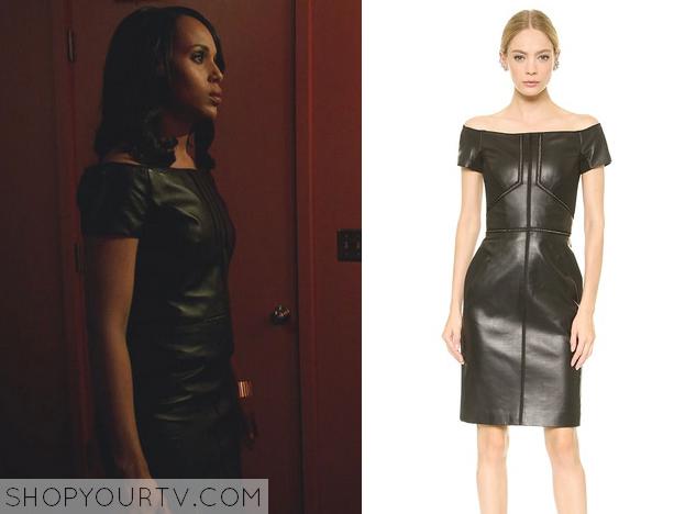 olivia black leather dress