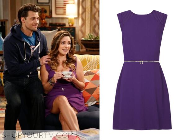 purple zip waist dress