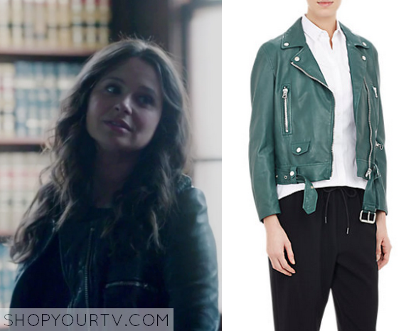 quinn green leather jacket