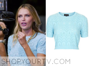 Barely Famous: Season 1 Episode 1 Sara's Blue Knit Crop Sweater
