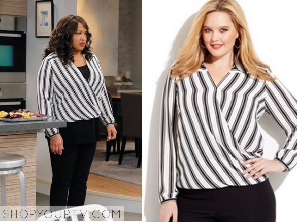 d3f23a26 Yolanda (Kym Whitley) wears this white and black striped wrap blouse in  this week's episode of Young & Hungry.