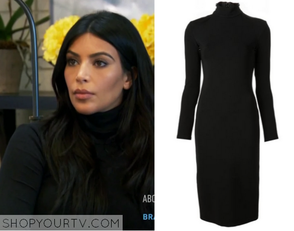 1582d117a4d Kim Kardashian wears this black turtleneck dress in this week s episode of  Keeping Up With the Kardashians.