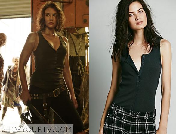 58995df2901a The Walking Dead: Season 5 Maggie's Black BUtton Front Tank | Shop ...