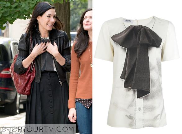 jill bow print blouse