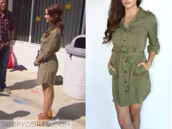 805d75b08dec The Bachelorette  Season 11 Episode 4 Kaitlyn s Green Shirtdress ...