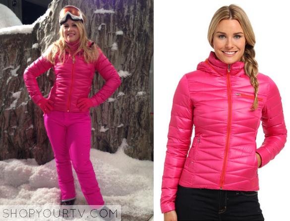 mel pink puffer coat