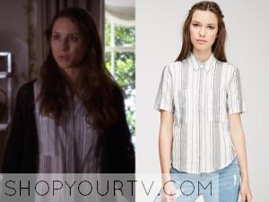 Pretty Little Liars: Season 6 Episode 2 Spencer's White Vertical Stripe Shirt