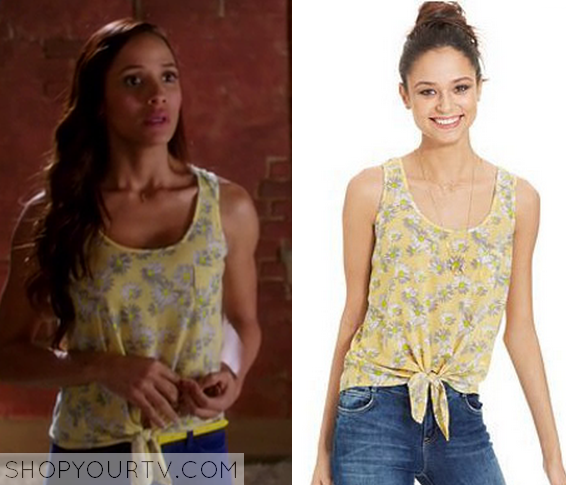 3x6 Devious Maids Rosies Yellow Floral Tie Top Tank Top