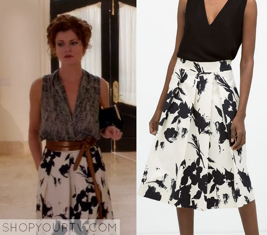 3x7 Devious Maids Evelyn Powell Floral Black and white Skirt