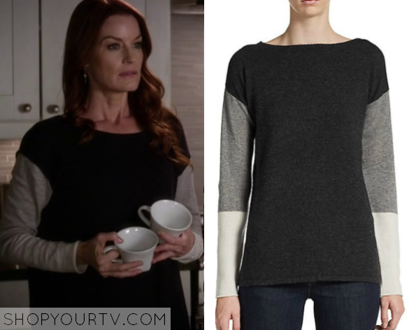 6x08 PLL Ashley Marin Color BLock Sweater