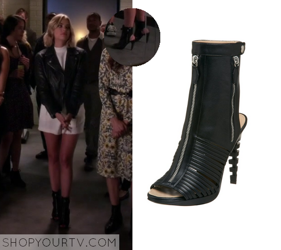 6x08 PLL Hanna Marin Zip Front Open Toe and Heel Boots