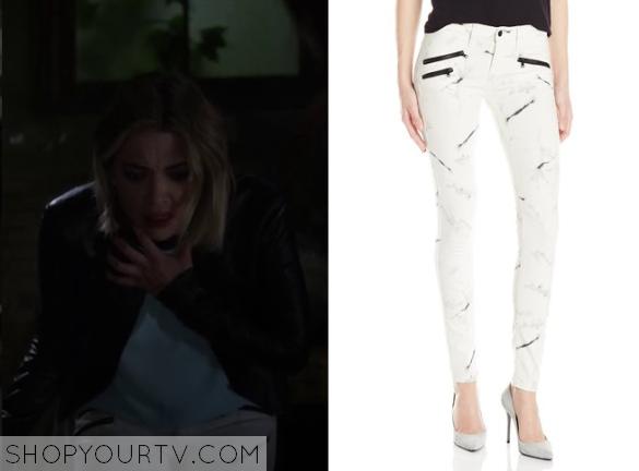 6x5 Hanna Marin White Jeans Black Zip Printed'