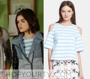 Pretty Little Liars: Season 6 Episode 7 Aria's  Blue striped Top