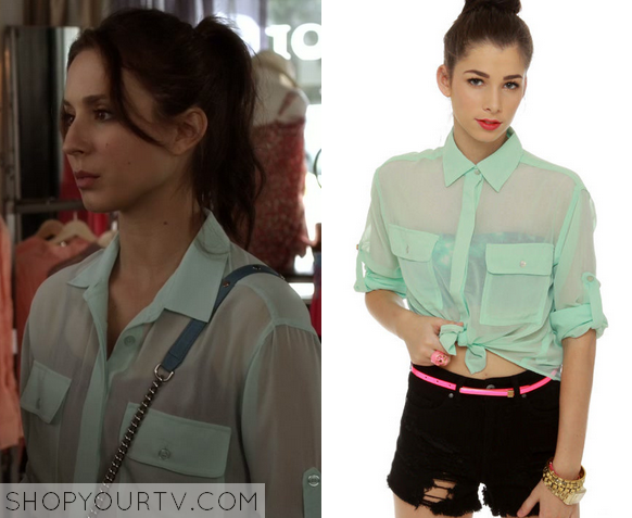 3x1 PLL Spencer Hastings Tie Front Button Down Shirt