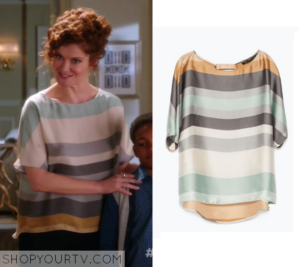 3x10 Devious Maids Evelyn's Silk Striped Blouse