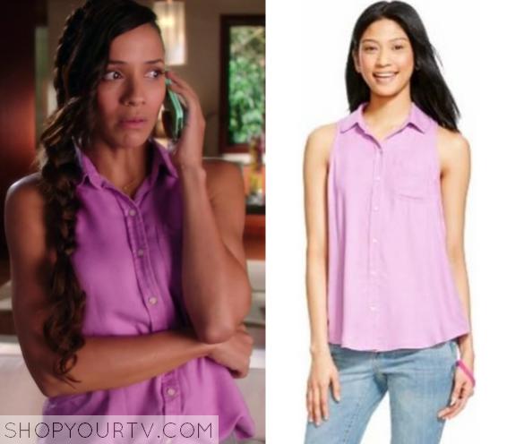3x10 Devious Maids Rosie Falta Button Down Purple Shirt