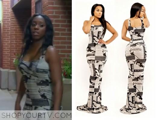 Naomi newspaper print dress