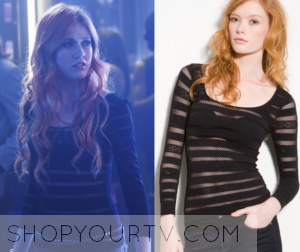 Shadowhunters: Season 1 Episode 1 Clary's Black Mesh Stripe Top