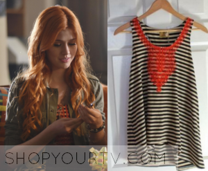 Shadowhunters: Season 1 Filming Clary's Striped & Orange Lace Top