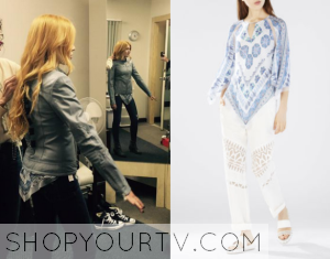 Shadowhunters: Season 1 Filming Clary's Scarf Print Top
