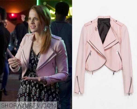 daphne pink leather jacket
