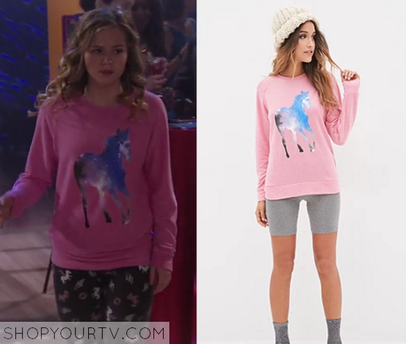 1x17 Bella and the Bulldogs Bell's Pink Galaxy Cosmo Horse Sweater
