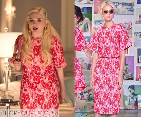chanel #5 pink print dress