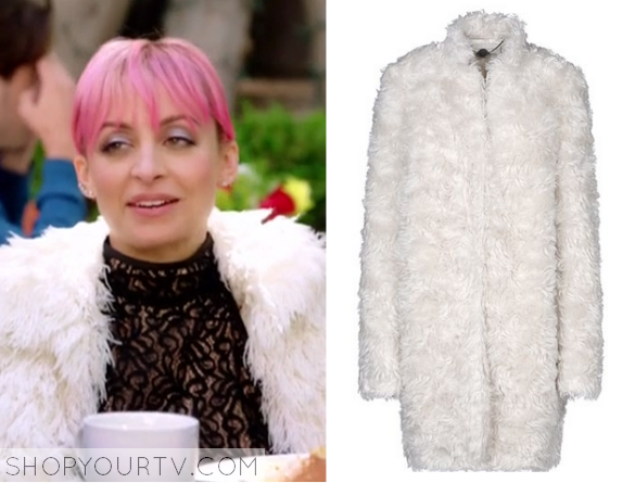 nicole white fluffy coat