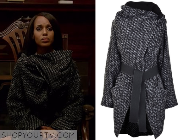 Scandal: Season 5 Episode 1 Olivia's Grey Tweed Textured Coat |