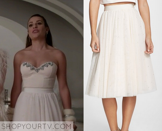 1x3 Scream Queens Lea Michele as Hester Ulrich Chanel 6 Ted Baker London Odella Embellished Tulle Skirt