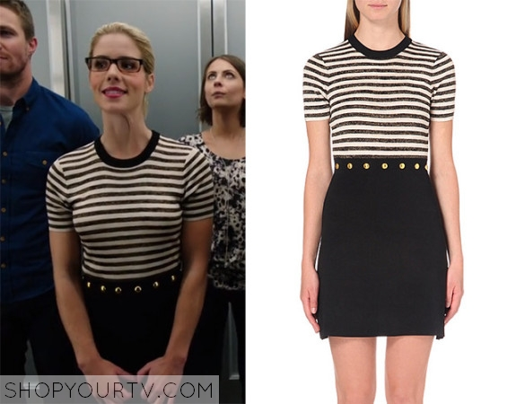 12ace21ec26c5d Arrow: Season 4 episode 4 Felicity's black white stripe dress | Shop ...
