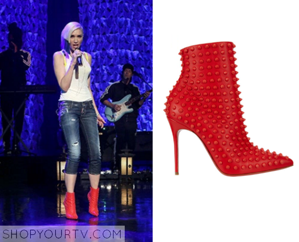 gwen red stud boots