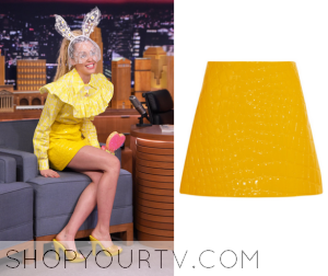 The Tonight Show: October 2015 Miley's Yellow Leather Skirt