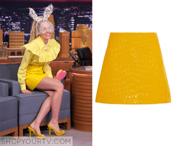 The Tonight Show: October 2015 Miley's Yellow Leather Skirt | Shop ...